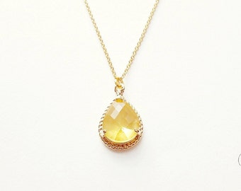 Yellow Crystal Gold Necklace - Simple Minimal Gold Necklace - Small Crystal Necklace - Light Yellow Necklace - Wedding Bridesmaids Gift