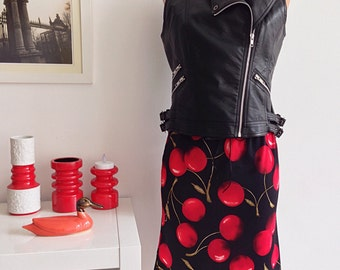 Vintage 90s Skirt Cherries Print Pin up Rockabilly Style Size S
