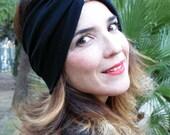 Headband femme, Bandeau large, turban maille noire ou bleue tissu japonais chirimen. Remplace un bonnet en hiver. Headband femme. Bonnet