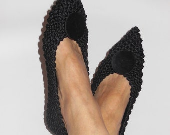Pointed Toe Flats, Womens Non-Slip COTTON Slippers, BLACK Slippers, Gift Wrapping, Gift for Her, Ballet flats, Knitted, crochet slippers