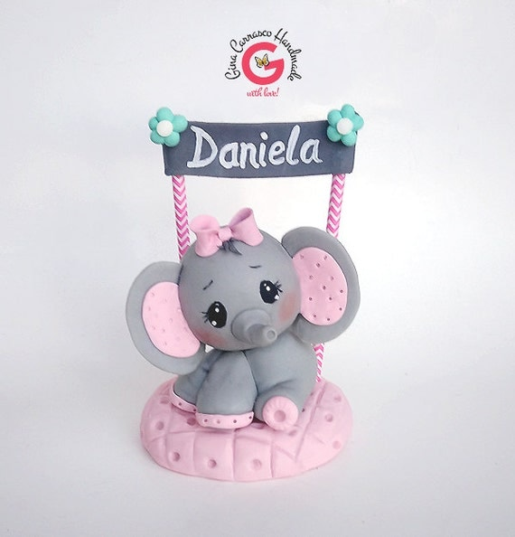 elephant baby shower cake topper gray and pink girl elephant baby 39 s