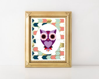Owl Decor Download Print, Owl Decor Printable, Owl Decor Digital Download, Owl Decor, Pink Owl, Nursery Decor, Nursery Owl, Owl 0154
