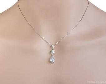 Crystal bridal necklace CZ Cubic Zirconia wedding necklace Clear crystal tear drop silver necklace Crystal bridal rhinestone chain necklace