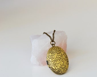 Brass Oval Locket Long Necklace - Vintage Locket - Layering necklace