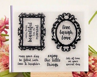 5 Piece Clear Stamp Set - Live Laugh Love