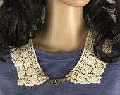 Outlander Claire Lace Collar with Pearls and Embossed Bead - Statement Necklace Fraser Diana Gabaldon FREE SHIPPING FT20