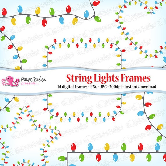 string lights frames clipart digital clip art commercial personal use instant download christmas lights frame fairy lights star heart from - Digital Christmas Lights