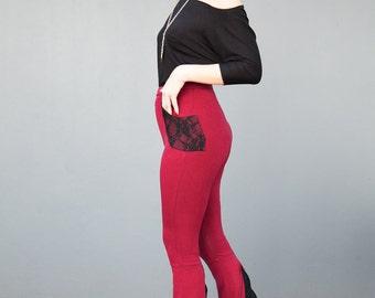 Maroon Bell Bottom Pants, Flare Pants, High Waisted, Funky Leggings, Burgundy, Black Lace Bell Leggings, Dance Pants