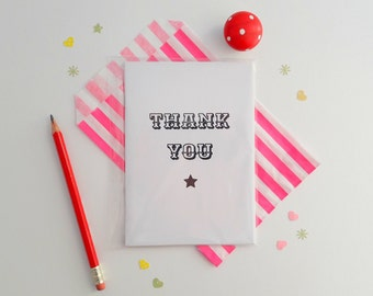 Thank you mini notebook, typography gift, monochrome thank you gift, thank you pocket notebook, teachers gift, cute stationary, gift idea
