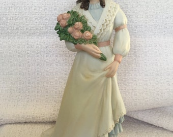 Homco Porcelain  Vintage Lady Holding Bouquet of Flowers, Charlotte Rose Victorian Lady, Homco 1468, Victorian Lady Figurine, Home Interiors
