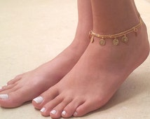 Gold Anklet - Coin Anklet - Gold Ankle Bracelet - Foot Jewelry - Foot Bracelet - Coin Ankle Bracelet - Summer Jewelry - Beach Jewelry