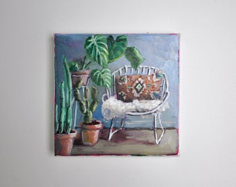 original acrylic painting, chair painting, small painting, botanical art, 6x6 painting, acrylics on canvas, small wall art
