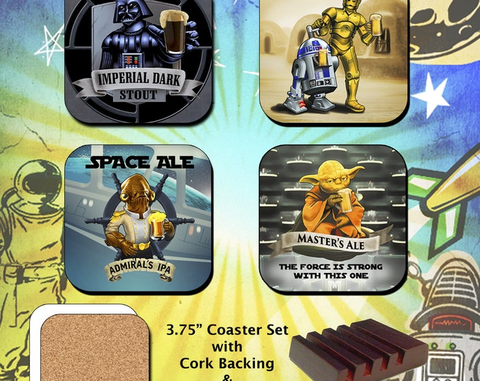 Star Wars Inspired Coasters Darth Vader R2D2 C3PO Droids Yoda Ackbar