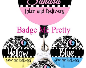 Retractable ID Badge Reel With Your Name -Damask and Baby Feet Pink and Blue - Labor and Delivery Nurse- Choose Your Color- Badge Holder