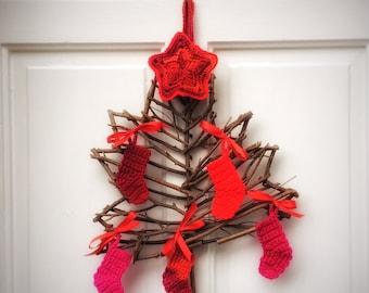 Christmas Tree Winter Decor Door Wreath with Crochet Red Booties Unique Handmade Natural Door Wreath Holidays Wall Hanging