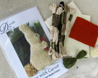 Primitive Punch Needle KIT ~Bunny Picking Carrots ~ folk art - punchneedle pattern - needle punch kit - Spring Easter Rabbit