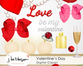 Commercial Use Instant Download St. Valentine's Day Digital Clipart - romantic red, pink holiday graphics