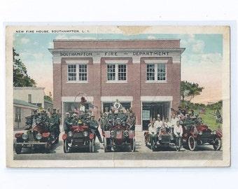 New FIRE HOUSE, Southampton L.I. Postcard 1920s