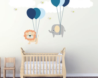 Wall Decals Nursery, Wall Decal Nursery, Balloon Wall Decal, Nursery Wall Decal, Baby Wall Decal, Jungle Wall Decal, REMOVABLE and REUSABLE