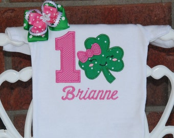 2 pc. Girls St. Patrick's Day Birthday Outfit! Pink and green shamrock birthday outfit for girls with applique bodysuit and hair bow!