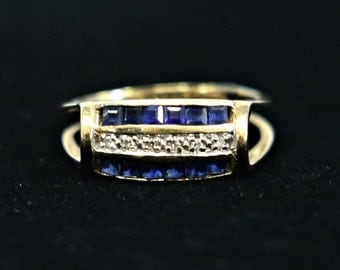 Channel Set Sapphire and Diamond Ring in 14 kt Yellow Gold