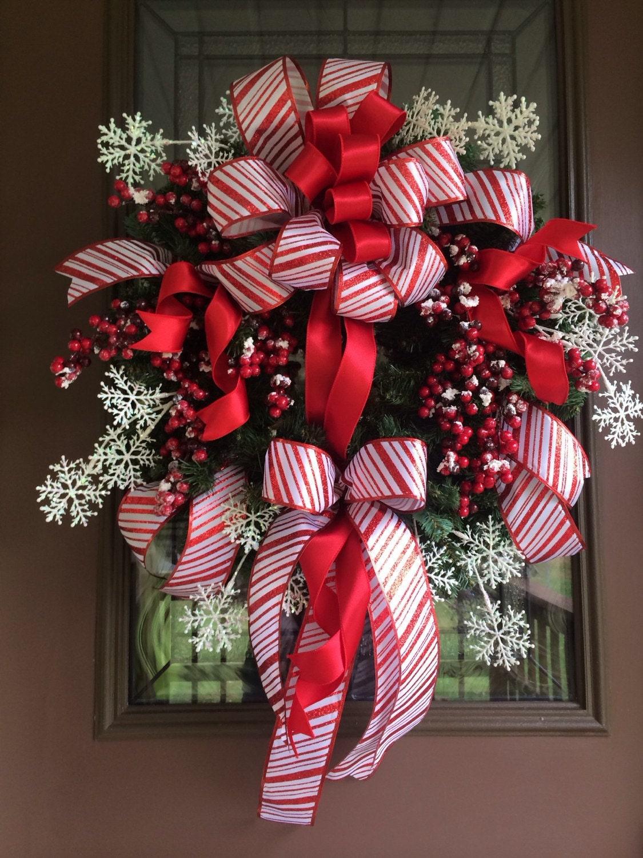 Christmas wreath red berry wreath front door wreath holiday for Front door xmas wreaths