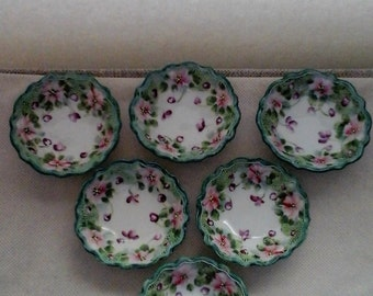 Antique Nut bowl set of 6 handpainted porcelain, green, purple, pink on white background