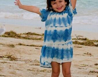 Little Girl Shibori Organic Cotton Gauze Dress