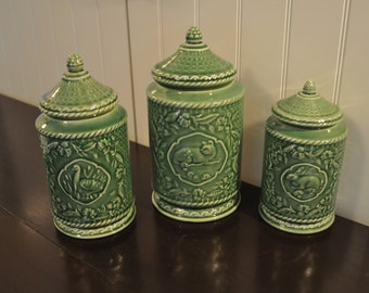 Set of 3 Green Embossed Canisters