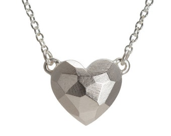 Large Sterling Silver Heart Necklace - Facet Collection - Chunky