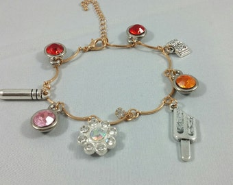 Red Vs Blue Inspired Mini Jewel & Charm Bracelet / Red Team - Sarge, Grif, Simmons, and Donut