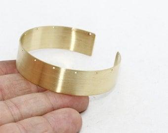 Raw Brass Cuff Bracelet  , 14 Holes Bracelet Bangle, Cuff Bracelet, Bangles , 15x155mm , CF28
