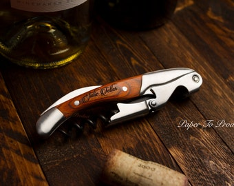 Wine Key Opener Corkscrew Double Hinged Engraved 2 Stage Custom Name Design Groom Gift Birthday Dad Father Bartender