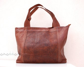 Leather Bag. High quality. Morocco. 12x17 inches.