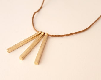 Gold Bar Necklace on Waxed Cotton Cord, Raw Brass, Spikes, Spike Necklace, Minimal, Minimalist, Geometric, Casual Necklace for Men and Women
