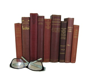 Red Vintage Books , Red Book Bundle , Book Decor , Red Decorative Books , Wedding Prop , Photo Prop , Vintage Books , Old Books