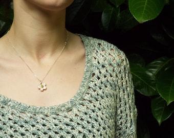 Porcelain glazed blossom necklace on 18'' sterling silver chain