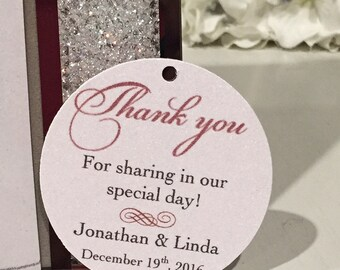 Set of 20 Wedding Thank You Tag -  Red and Black -  Thank You Circle Tag - Personalized Thank You Tag