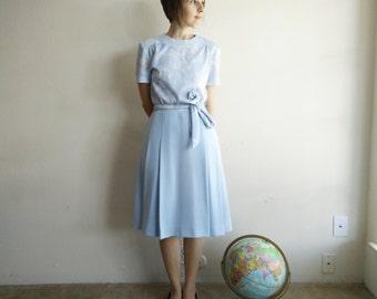 Vintage 1960s Blue Floral Pleated Dress/60s Dress