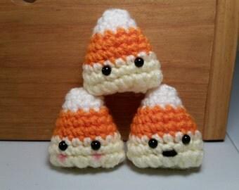Candy Corn Amigurumi, Crochet Candy Corn, Crochet Candy, Tiny Candy Corn, Candy Corn Plushie, Candy Corn Plush, Halloween Fall Decoration