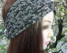 Lace Headband Black and white headband Unique Hair Band Hair wrap Black lace headband Yoga Hair Accessory Dreadlock Headwrap Lace Headscarf