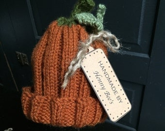 Knit Pumpkin Hat for Baby or Toddler
