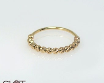gold beaded ring, half circle diamond cut beaded ring in 14k solid gold