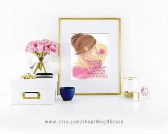 Mother Daughter Nursery Gift Wall Art Print Blonde Brunette by Designs Meg