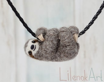 Sloth necklace, Cute sloth pendant, Sloth jewelry, Baby sloth gift, Miniature needle felted sloth charm, Felt jewelry, Felt sloth, MTO