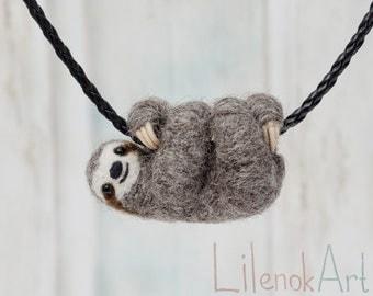 Sloth necklace, Cute sloth pendant, Sloth jewelry, Baby sloth gift, Miniature needle felted sloth charm, Felt jewelry, Felt sloth, MTO