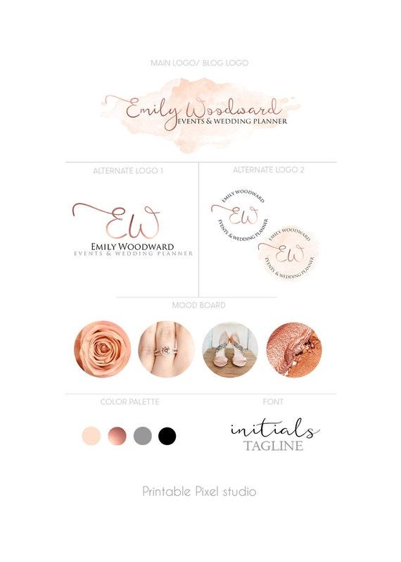 Branding package logo package rose gold logo wedding for Create blog logo