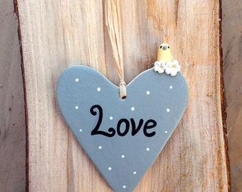Grey heart, love wall décor, miniature yellow canary, pottery heart, yellow bird, love heart