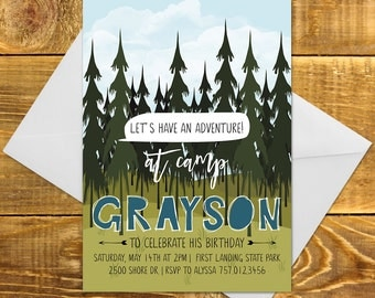 Printable Camping Birthday Invitation | Camp Invite DIY, Camping Birthday, Outdoors, DIY Invitation, Paper Party Supplies, Birthday Invite