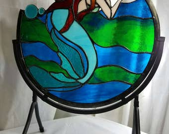 Keeper of the Sea 14 Inch Redheaded Mermaid and Wave Stained Glass Panel with Teal Shell in Aquas/Greens